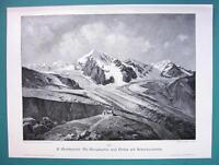 ITALY Tyrol Alps Ortler & Alpinist Schaubach's Cottage - VICTORIAN Era Print