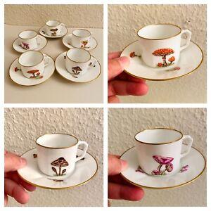 🎁✅ Kinder-Tassen Set ALT 5x Fliegenpilz Steinpilz Porzellan Vintage Espresso?