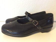 NEARLY NU! SAS Maria women 9 WW black snake mary jane comfort shoe buckle x wide