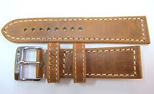 .24MM GERMAN MADE TAN LEATHER STITCHED STRAP & STEEL BUCKLE BY GLYCINE #M