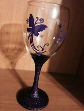 Personalised Butterfly Glitter Wine Glass, Ideal For Birthday, Christmas