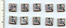 LEGO x 10 Light Gray Tile 2 x 2 with Magnifying Glass and Fingerprint Pattern
