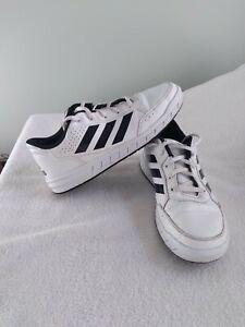 ADIDAS White w/black stripes sneakers