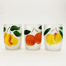Vintage Frosted Glasses w Hand Painted Fruits Set of 3 Orange Pear Peach