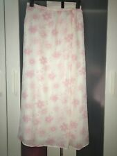 Women's Size 14 White & Pink Floral Calf Length Lined Skirt by Millers # 632