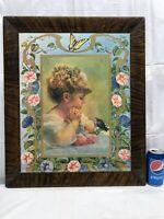 Vtg Framed SPRINGTIME OF LIFE Girl Bluebird Morning Glory Flower Litho Picture