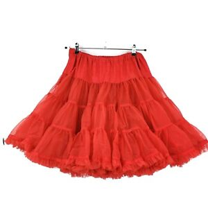 Circle Skirt Rockabilly Fire Engine Red Three layers Square Dance Pin Up Lingerie 6 tiers Vintage Red Petticoat satin ribbon trim