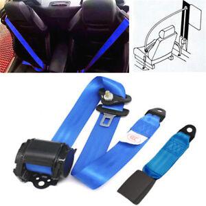 3 Point Vehicle Car Front Seat Belt Buckle Kit Automatic Retractable Straps Blue