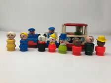 Vintage 1969 Fisher-Price Little People Mini Bus Police and Post Office Cars