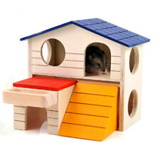 Pet Small Animal Hideout Hamster House Deluxe Wooden Hut Play Toy Hot