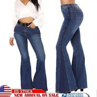 US Women's Flared Bell Bottom Denim Pants High Waist Slim Bootcut Jeans Trousers