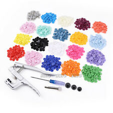 300 Colourful T5 Plastic Snaps Fastener Buttons Snap Pliers Kits Press Stud Set