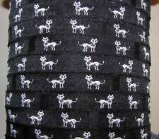 "3 Yds Black White Kitty Cats Collar Woven Jacquard Ribbon 3/8""W"
