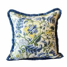 Hamptons Coastal Style Blue and Yellow Floral Print Cushion Cover with Fringe