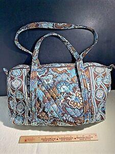 """VERA BRADLEY 18"""" Small Duffel Travel Weekender Bag """"Java Blue"""" + Brown Spr 2006"""