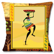 "NEW AFRICAN TRIBAL LADY YELLOW BROWN SHADES PRINTED 16"" Pillow Cushion Cover"