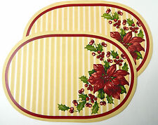 PAIR (2) CHRISTMAS HOLLY LEAF VINYL OVAL PLACEMATS by FRANCO VERY CLEAN