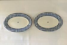 RAE DUNN OVAL PLATE BY MAGENTA WITH BLUE AND WHITE CHECKED RIM