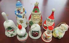 Lot of 8 Christmas Ceramic Porcelain Vintage Bells - Holly, Santa and Snowman