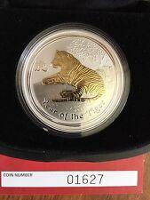 Australian Lunar Series II 2010 Gilded Tiger 1oz Silver Coin
