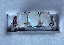 Size 8 Australian Coober Pedy Opal & Rhodolite Garnet Sterling Silver Ring 1.45