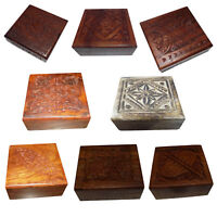 Wooden Hand Carved Trinket Jewelry Box Organizer Keepsake Storage Chest Boxes