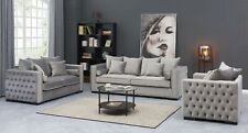 The Cubic Chesterfield Grey Silver Velvet 1, 2, or 3 Seaters Sofa Sets