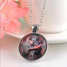Women Men Silver Cabochon dragon Photo Glass Pendant Necklace 25mm
