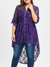 Women's Long Sleeve Button Up Plus Size Blouse High Low Lace Plus Size Tops