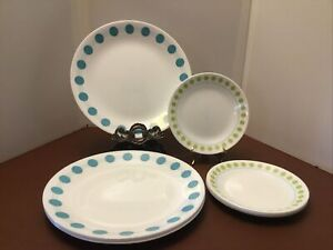 """Set of 4 Corelle South Beach Turquoise Polka Dot Dinner Plates & 4 Small 6.5"""""""