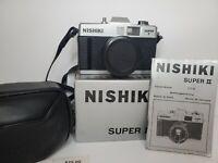 Nishiki Super II 35mm Film Camera Auto Fixed Focus 50mm Optical Lens Vintage Des