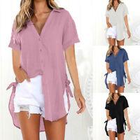 Women Loose Button Long Shirt Cotton Linen Dress Casual Top T Shirt Blouse LIU9