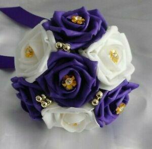 Wedding flowers Cadbury Purple & White Gold rose wedding bridesmaid Bouquet posy