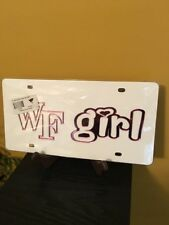 """Wake Forest  """"WF Girl"""" License Plate Tag/ White & Pink-Acrylic/ Collegiate Lic."""