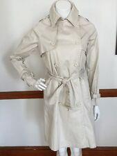 Euromoda Coat Jacket Rain Coat Beige Off White w Belt size M RARE!