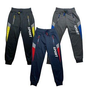 Boys Joggers Reflective Zip Pocket Girls Cotton Sports Jogging Bottoms Kids