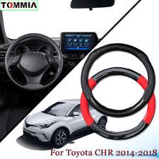 Black Carbon Fiber Leather Car Steering Wheel Cover For Toyota CHR 2014-2018