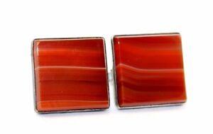 BIG Vtg RED & WHITE BANDED AGATE Sterling Silver Modernist GEM SLAB Cufflinks