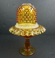 Fenton 3 Piece Colonial Amber Hobnail Pedestal Fairy Lamp