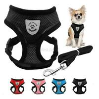 Breathable Mesh Small Dog Cat Pet Harness and Leash Set Puppy Vest Adjustable AU