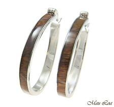 Koa Wood Hawaiian Rhodium Plated Brass 32x41mm Oval Hoop Snap Closure Earrings