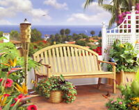 Beautiful seaside garden scenery Oil painting Art Giclee Printed on Canvas P1449