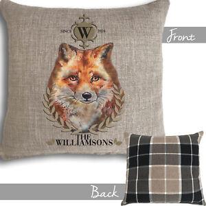 Personalised Fox Cushion Country Christmas Family Gift Dad Nan Mr & Mrs Wedding