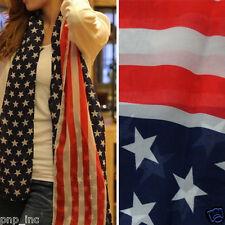 Large Fashion USA Flag Star Stripe Print Women Light Long Sheer Scarf Wrap Shawl