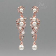 ROSE GOLD Plated Clear Crystal Pearl Wedding Chandelier Drop Dangle Earrings 089