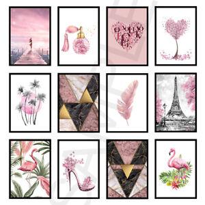 Blush Pink Rose Gold Bedroom Living Room Wall Art Prints Posters Decor: Unframed
