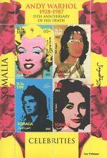 Andy WARHOL MARILYN MONROE Mick Jagger Liz Taylor 2002 Gomma integra, non linguellato FRANCOBOLLO SHEETLET