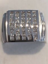 14K Solid White Gold 2Ct Total Weight Diamond Mens Bling Ring-Princess Cut