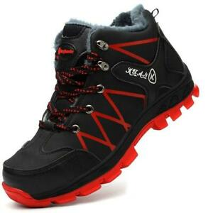Winter Womens Mens Fur Warm Safety Shoes Steel Toe Caps High Top Work Snow Boots