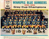 CFL 1958 & 1959 Grey Cup Champs Winnipeg Blue Bombers Team Photo 8 X 10 Photo